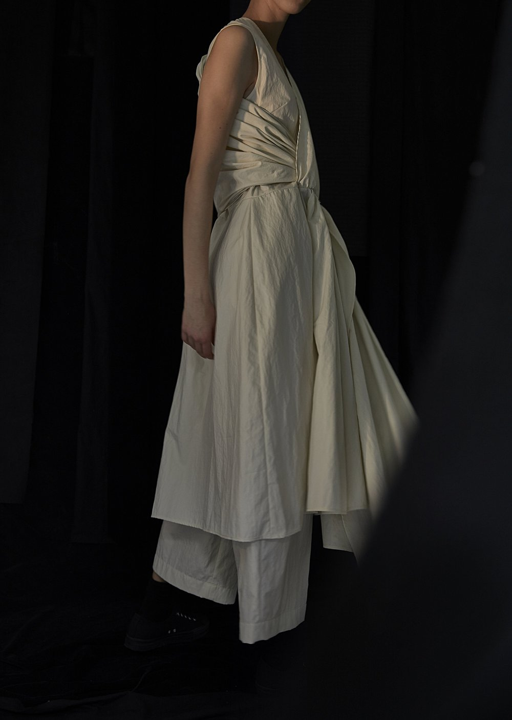 ARBUS   draped dress and   BARCELONA   wide-leg trousers in CHALK