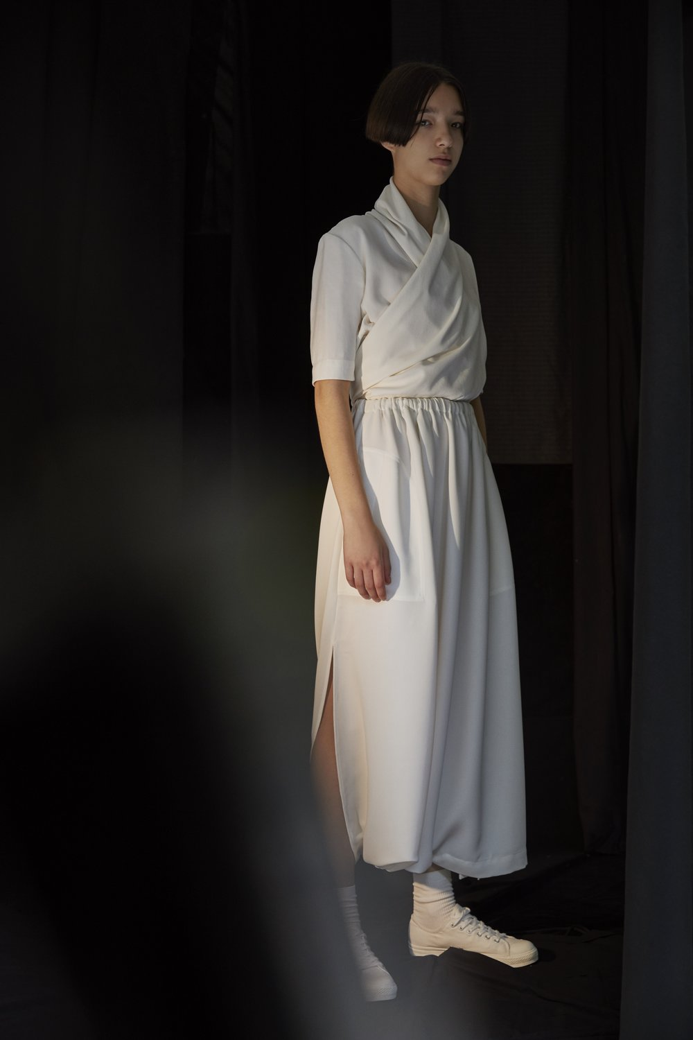 PARR   wrap top in CHALK and   MORRIS   gathered-waist skirt in WHITE