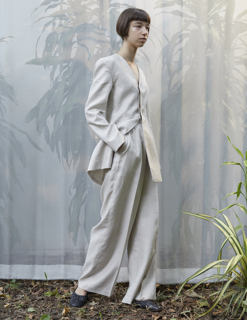 DUMAS   linen jacket and   TURRELL   wide-leg trousers in SAND