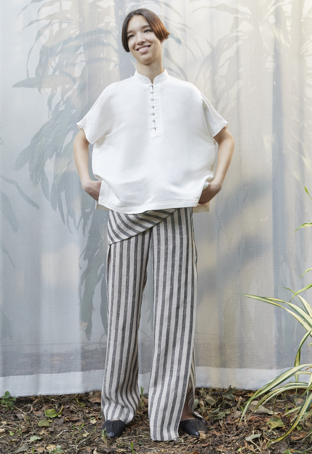 RIE   square blouse in IVORY and   SANDER   draped trousers in STRIPE
