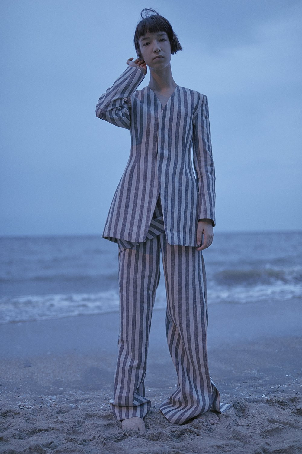 DUMAS   linen jacket and   SANDER   draped trousers in STRIPE