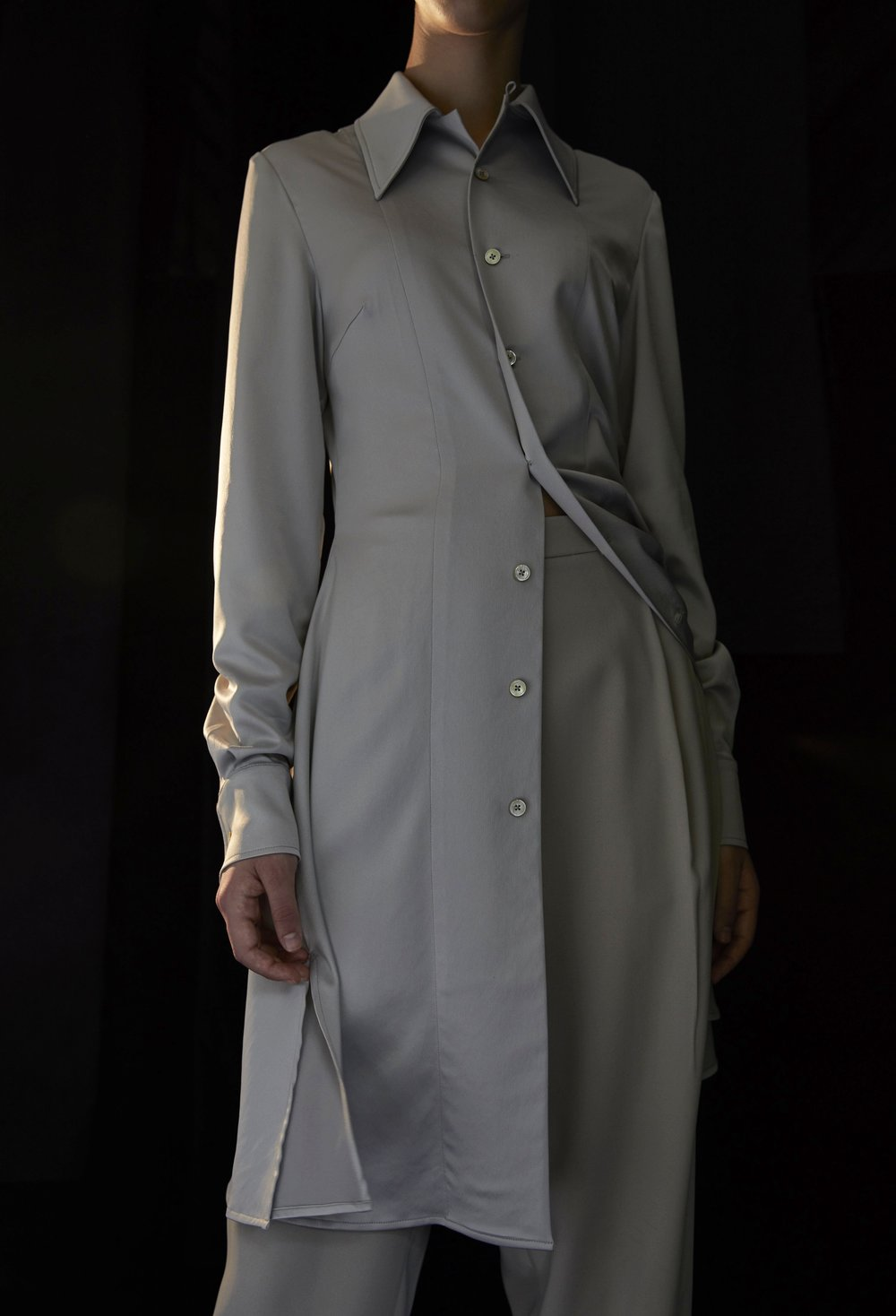 GOLDIN   silky shirt dress in SMOKE and RAY cropped trousers in KHAKI