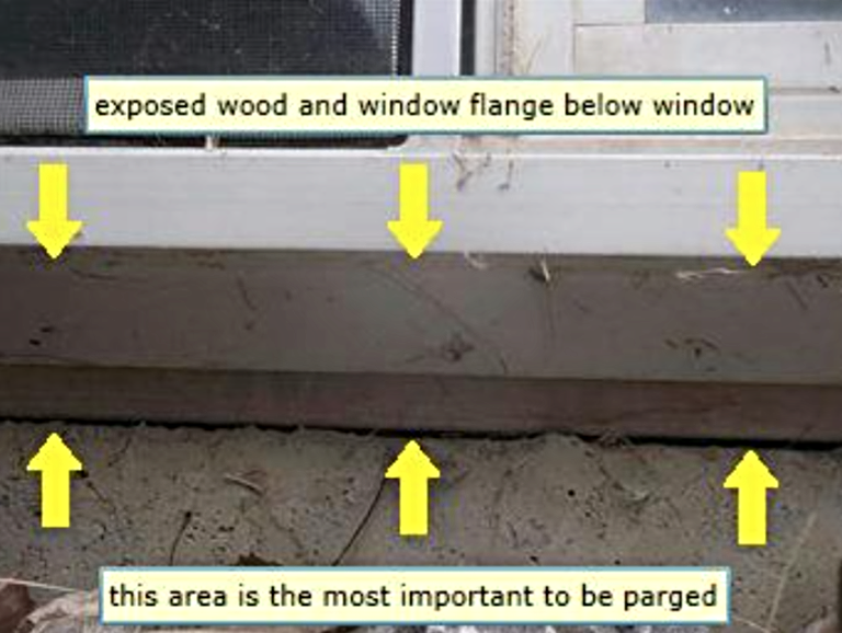 Calgary Home Inspector exposed wood & window flange