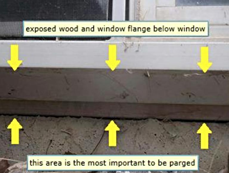 Calgary Home Inspector exposed wood & window flange