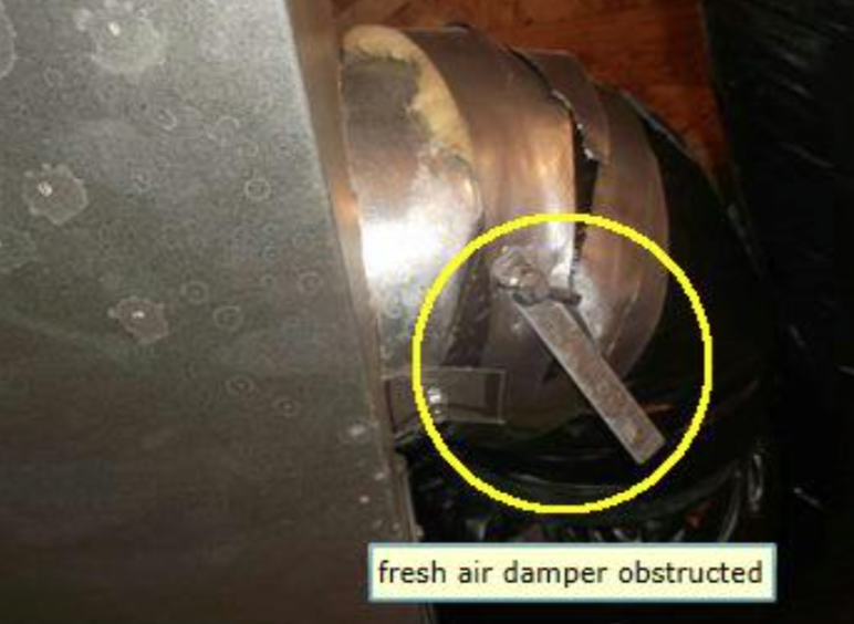 Calgary Home Inspector Fresh air damper obstructed