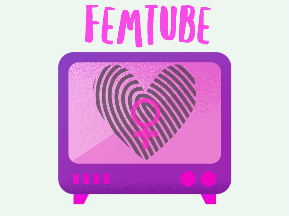 Art created by Katie Scarlett [Image description: FemTube in pink capital letters with a pink and purple tv set below. On the screen is a heart made of fingerprints and the female biological sign]