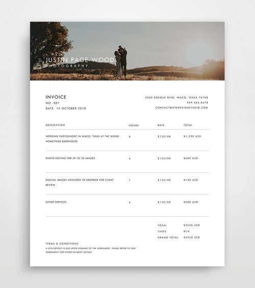 Photoshop Templates For Photographers JPW Design Studio - Photographer invoice template
