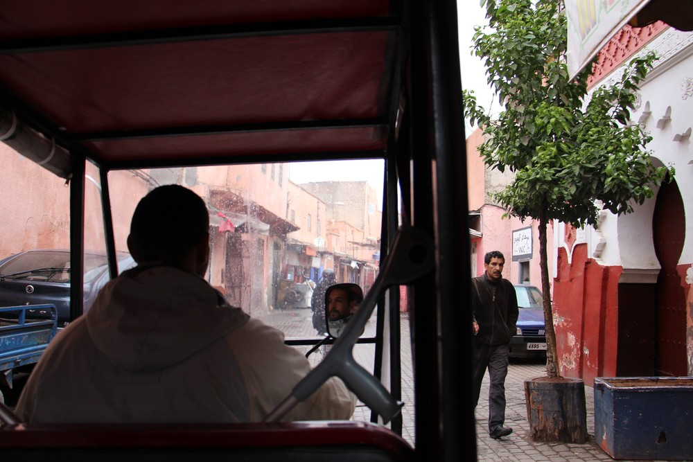 Our tuktuk driver zipping in and out of Marrakesh traffic which included motorbikes and donkeys.