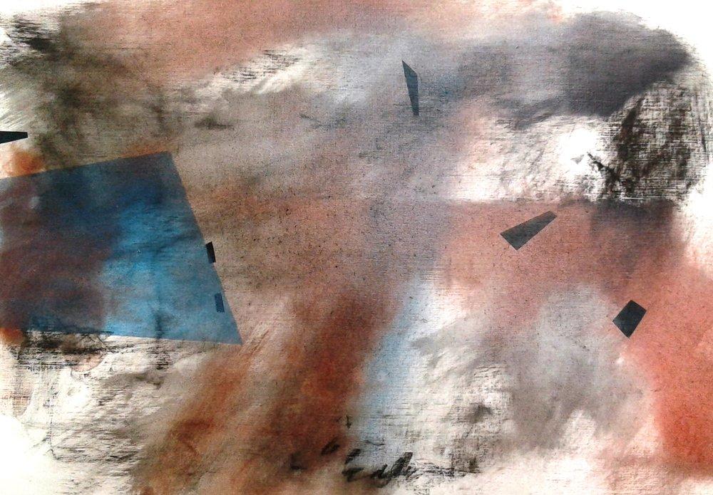 Interior Landscape I, oil, compressed graphite, compressed pigment, on card, 300x420mm