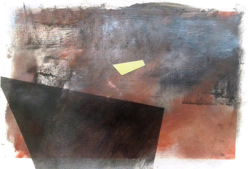 Interior Landscape II , oil, compressed graphite, compressed pigment, on card, 300x420mm