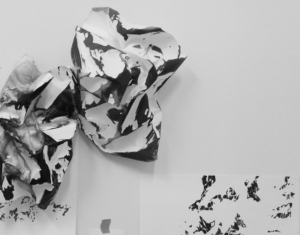 Installation view of the paper sculptures:  ink and paper