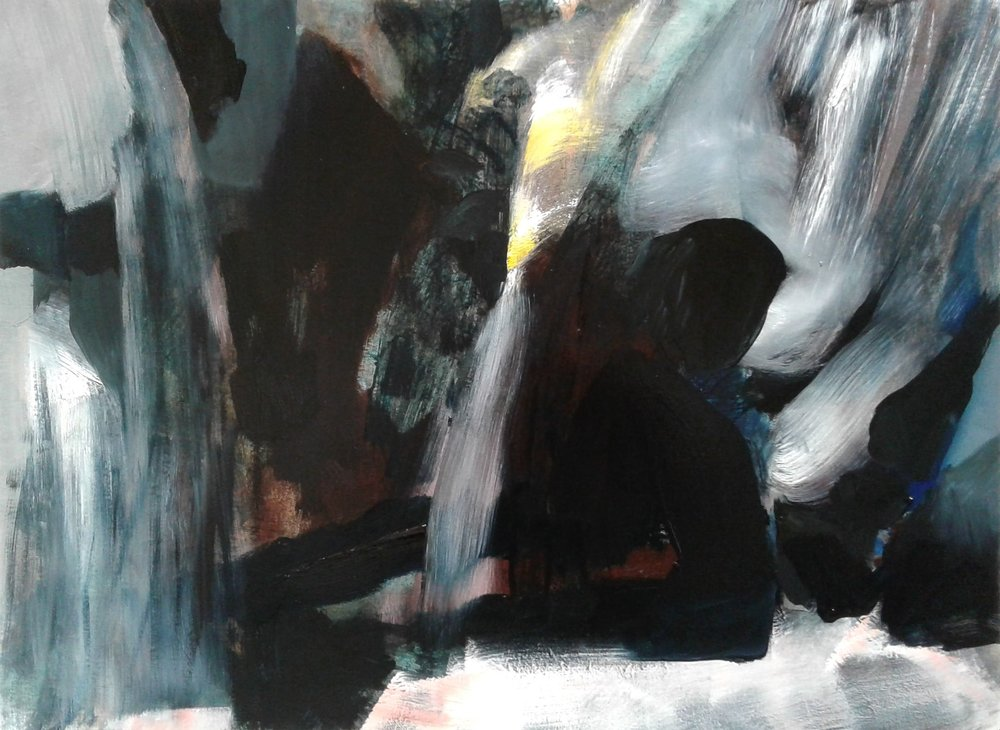 Showing the Waterfalls: Mt Taranakai, Easter 2018 II, 570x770mm, ink and oil on 640gsm card, $1800