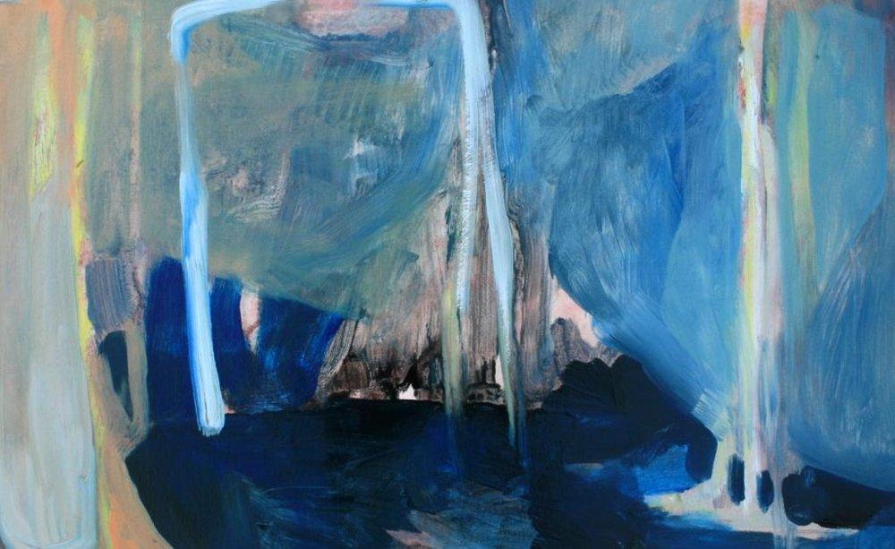 Landscape versus place VI, 370x580mm, oil on 600gsm card, $490  Finalist, Walker & Hall Award 2018