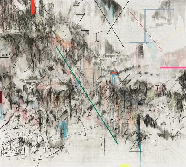 Julie Mehretu, Co-Evolution of the Futurrhyth Machine (After Kodwo Eshun), 2013, graphite, ink, and acrylic on canvas, 9 x 10 feet