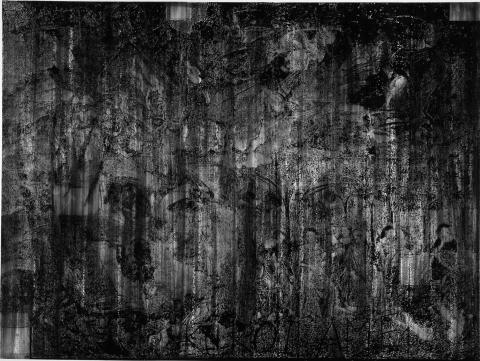 Alain HUCK, Kuroi Ame, 2007, charcoal on paper, 250x368 cm