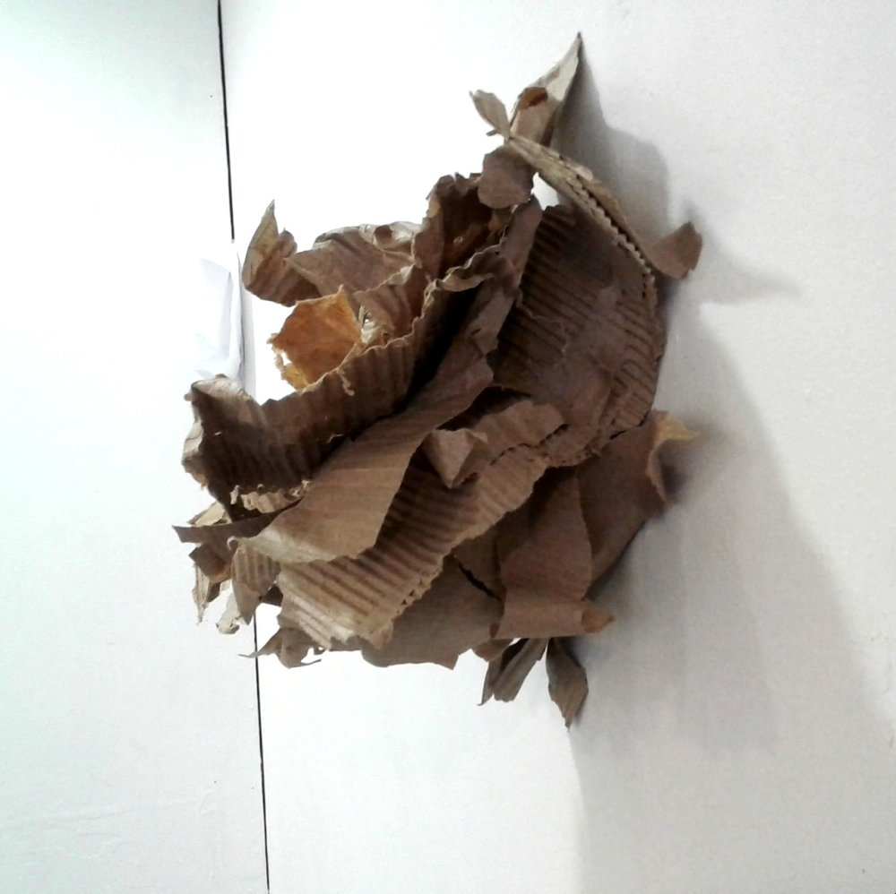 sculptural drawing: corrugated cardboard