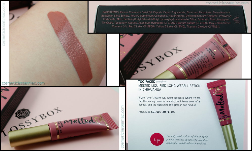 Too Faced Melted Liquified Long Wear Lipstick - Melted Chihuahua  Made in Italy.