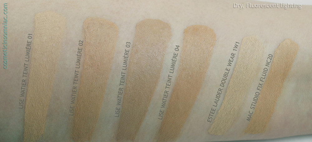 Lise Watier Teint Lumiere / Luminous Foundation   Dry, Fluorescent Lighting