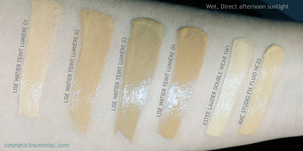 Lise Watier Teint Lumiere / Luminous Foundation   Wet, Direct Sunlight