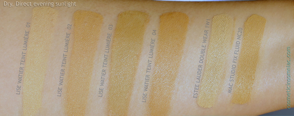 Lise Watier Teint Lumiere / Luminous Foundation   Dry, Direct Evening Sunlight