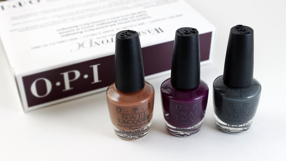 "OPI Washington DC Collection 3 PC Mini set    L to R: Inside the ISABELLEtway, Kerry Blossom, ""Liv"" in the Gray"
