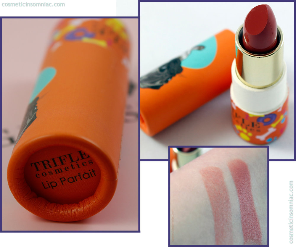 Glossybox (Canada) August 2016  Trifle cosmetics Lip Parfait - Guilty Pug  Formulated in Italy, packaging made in China.