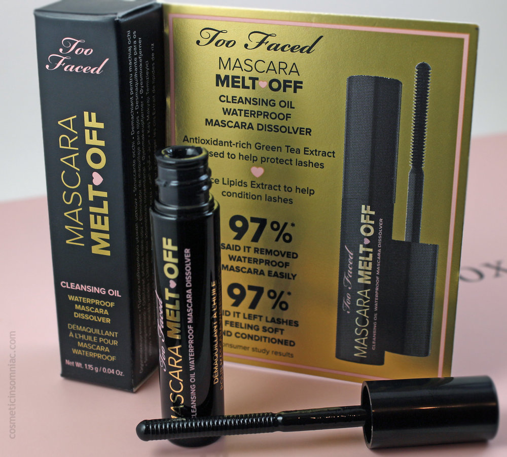 Glossybox (Canada) August 2016  Too Faced Mascara Melt Off Cleansing Oil  Made in USA
