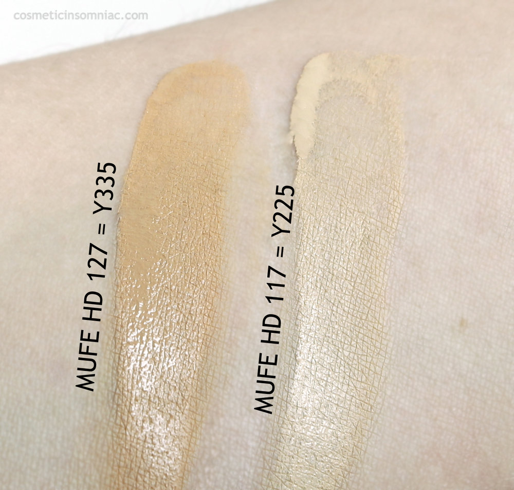 Make Up Forever Ultra HD Foundation swatches  127 - Y335 (L) / 117 = Y225 (R)  Photo taken in fluorescent lighting.