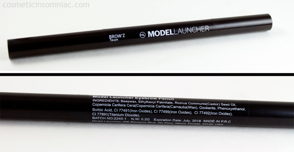 Glossybox  September 2016    ModelLauncher Brow Duo Pencil Ingredients    Made in P.R.C. - People's Republic of China