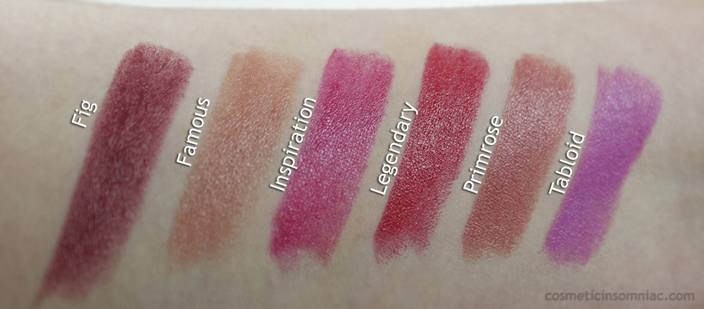 Smashbox Light It Up Lipstick Mattifier Set   Swatches, photo taken under indirect fluorescent lighting  (click to enlarge)