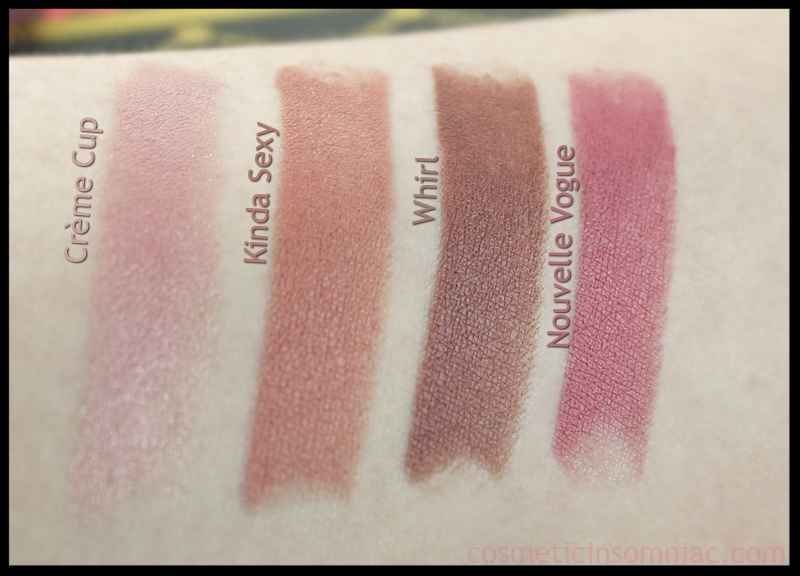 M.A.C. Nutcracker Sweet - Nude Lipstick Kit   Swatches taken in indirect fluorescent lighting  (click to enlarge)