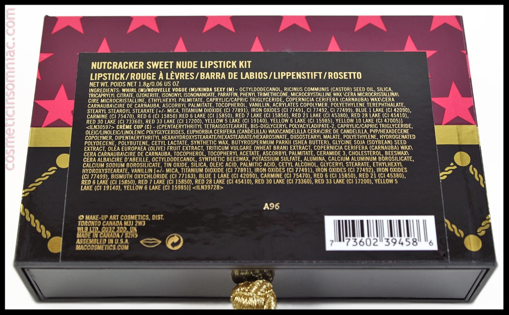 M.A.C. Nutcracker Sweet - Nude Lipstick Kit   Ingredients (click to enlarge)