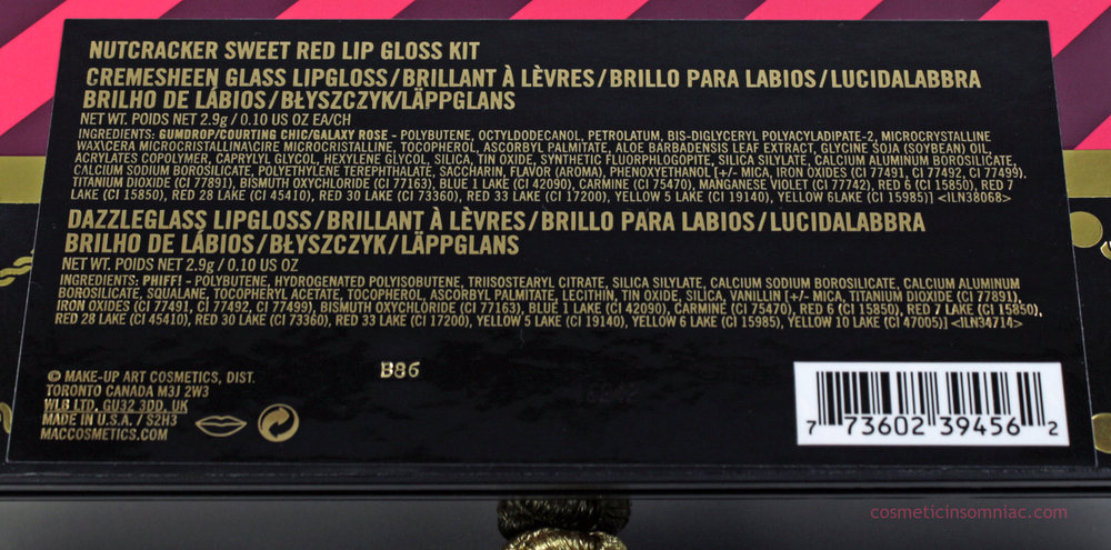 MAC NUTCRACKER SWEET RED LIP GLOSS KIT  Ingredients (click to enlarge)