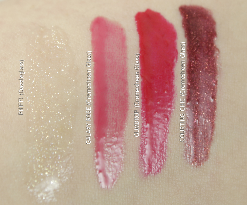 MAC NUTCRACKER SWEET RED LIP GLOSS KIT    Swatches photographed in fluorescent lighting    (click to enlarge)