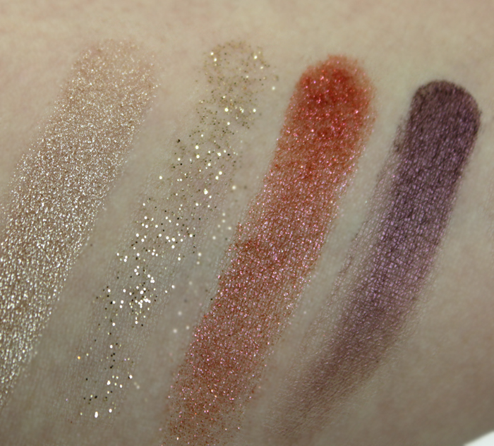 M.A.C Nutcracker Sweet Gold Pigments and Glitter Kit   Swatches taken under fluorescent lighting   (click to enlarge)