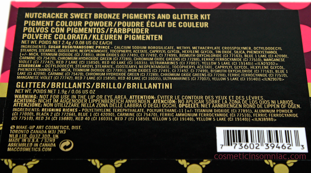M.A.C NUTCRACKER SWEET BRONZE PIGMENTS AND GLITTER KIT    Ingredients (click to enlarge)
