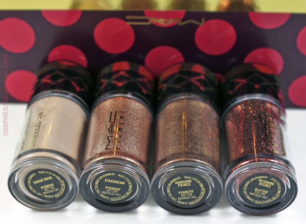 M.A.C NUTCRACKER SWEET BRONZE PIGMENTS AND GLITTER KIT    L to R: Sugar Rush, Stardream, Handsome Prince, Reigning Riches  (click to enlarge)
