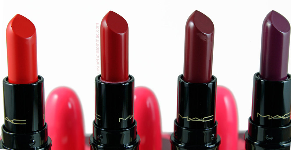 MAC NUTCRACKER SWEET RED LIPSTICK KIT  L to R: Lady Danger (M), MAC Red (S), Diva (M), Rebel (S)  (click to enlarge)