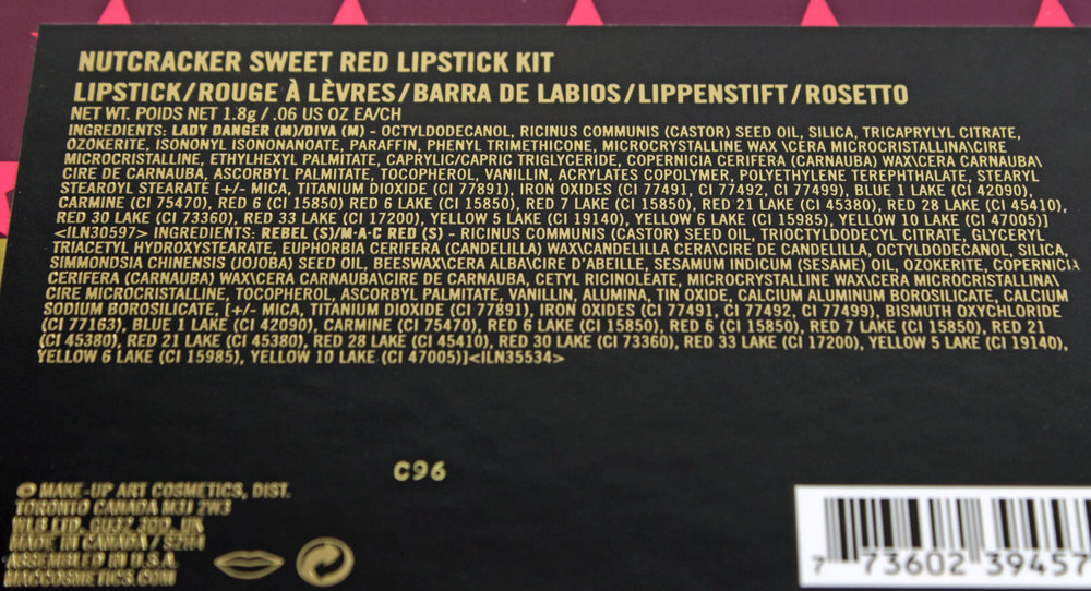 MAC NUTCRACKER SWEET RED LIPSTICK KIT INGREDIENTS    (click to enlarge)