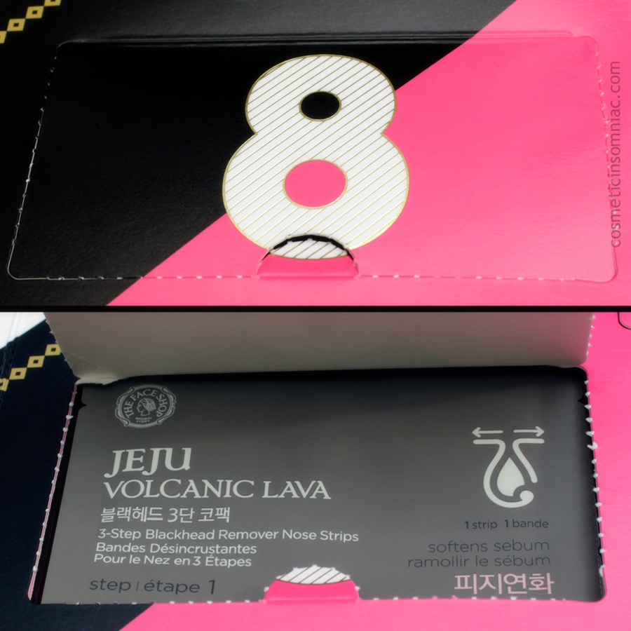 The Face Shop 12 Day Beauty Advent Calendar - 2016    Jeju Volcanic Lava - 3 Step Blackhead Remover Nose Strips    Made in Korea