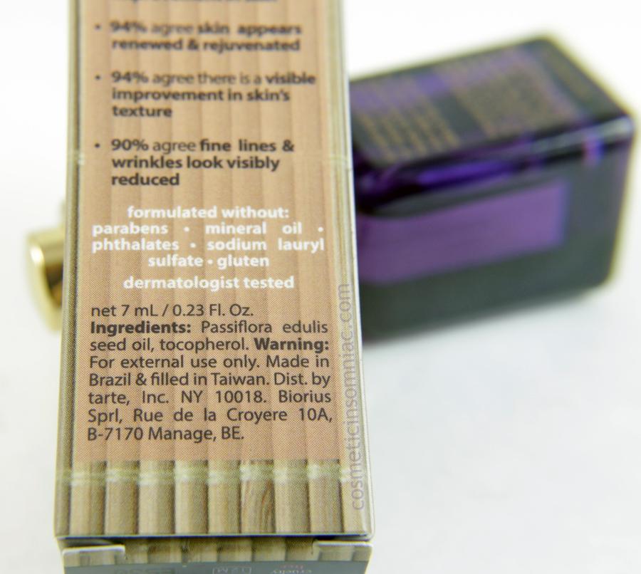 ipsy Glam Bag - December 2016  tarte Maracuja Oil (7 ml) Ingredients  Made in Brazil, filled in Taiwan
