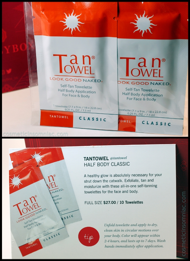 Tan Towel - Self-Tan Towelette   2 towels  Approx. Value:  $5.40 USD  Full Size: 10 towels Approx. Retail: $27.00 USD