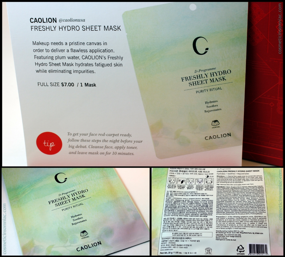 Caolion - Freshly Hydro Sheet Mask  (1 mask)   Approx. Value:  $7.00 USD  Full Size: 1 mask Approx. Retail: $7.00 USD