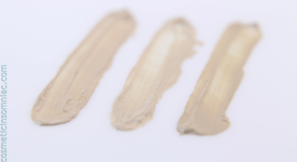 Marcelle Flawless Skin-Fusion Concealer    L to R:   Fair,  Light to Medium,  Medium to Dark  Swatches taken in fluorescent light.