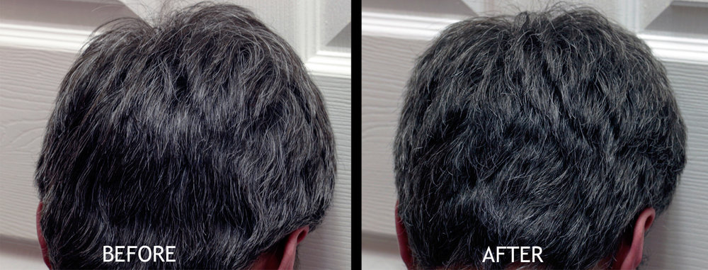 John Frieda Brilliant Brunette - Visibly Deeper   Left:  Untreated   Right:  After one treatment