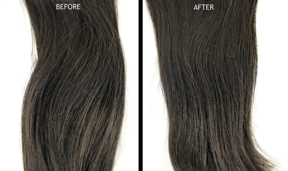 John Frieda Brilliant Brunette - Visibly Deeper   Left : Untreated extension,   Right:  After one treatment (all three steps)
