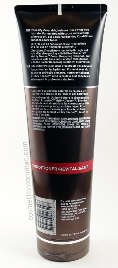 John Frieda Brilliant Brunette - Visibly Deeper  Conditioner Ingredients  (click to enlarge)