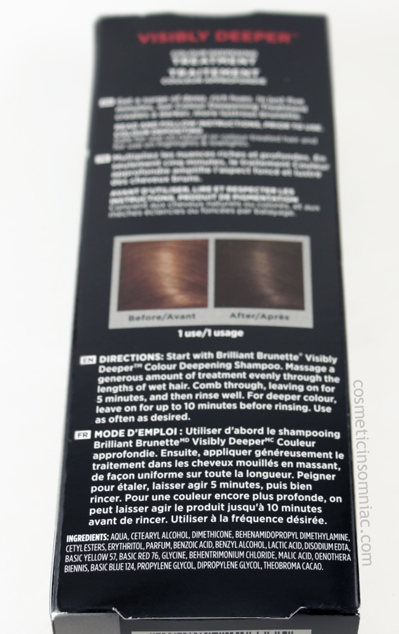 John Frieda Brilliant Brunette - Visibly Deeper  Colour Deepening Treatment Ingredients  (click to enlarge)