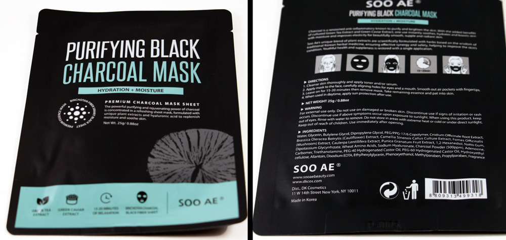 SOO AE  Purifying Black Charcoal Mask  Made in Korea