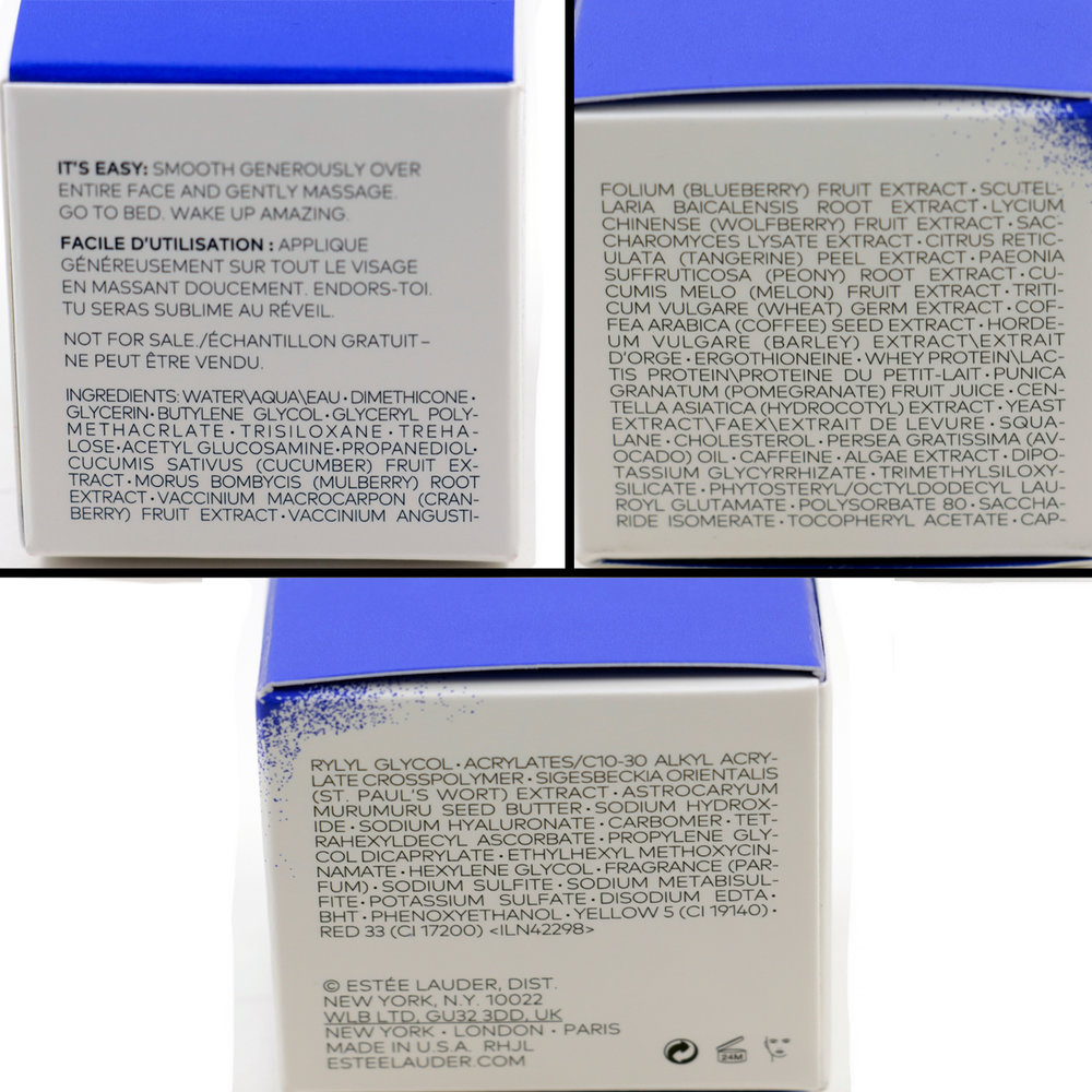the Estee edit by Estee Lauder  Pink Peony Overnight Water Pack - Ingredients  (click to enlarge)